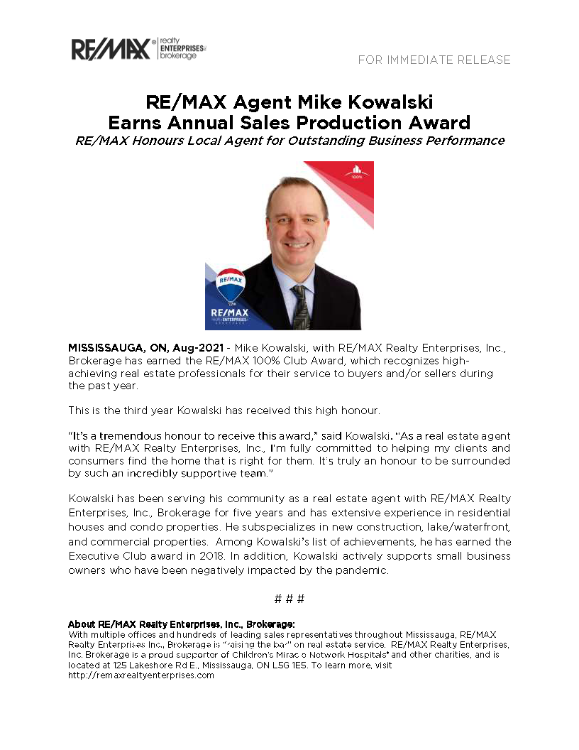 REmax Agent Mike Kowalski Earns Annual Sales Production Award